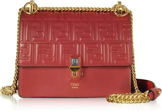 Fendi Strawberry Red FF Printed Leather Kan I Small Shoulder Bag
