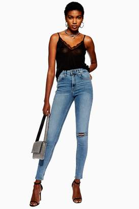 Topshop Womens Bleach Ripped Jamie Jeans - Bleach Denim