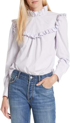 Rebecca Taylor Ruffle Detail Cotton Poplin Blouse