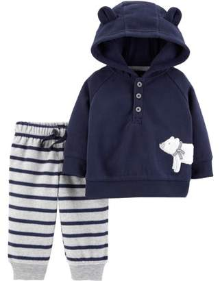 Carter's Child of Mine by Hooded Long Sleeve Footless Fleece Romper (Baby Boys)