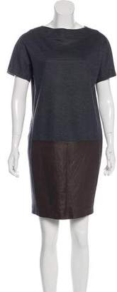 Brunello Cucinelli Virgin Wool Leather-Paneled Dress