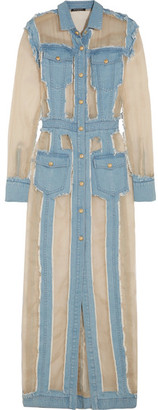 Balmain - Frayed Denim And Organza Maxi Dress - Light denim $3,215 thestylecure.com