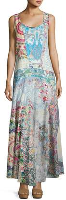 Johnny Was Bessy Mix-Print Cotton Maxi Dress, Multi $279 thestylecure.com