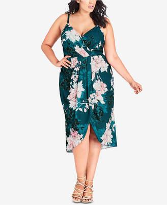 City Chic Trendy Plus Size Floral-Print Faux-Wrap Dress