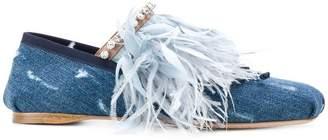 Miu Miu feather-trimmed denim ballerina shoes