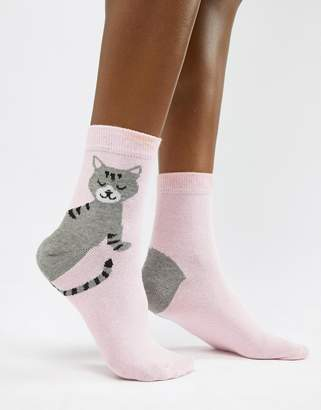 Asos DESIGN cat heel ankle sock