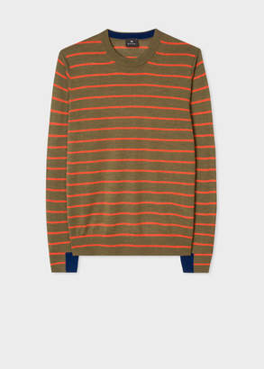 Paul Smith Men's Khaki Thin Stripe Merino Wool Sweater