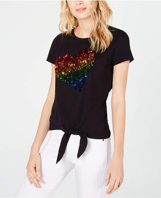 INC International Concepts I.n.c. Pride Tie-Front Rainbow Sequin T-Shirt