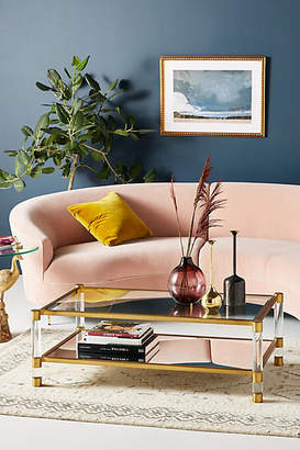 Anthropologie Oscarine Lucite Mirrored Coffee Table