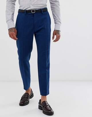 Design DESIGN wedding skinny crop suit trousers in blue wool mix twill