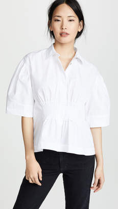Cédric Charlier Cinched Waist Collared Shirt