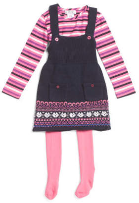 Toddler Girls Sweater Jumper With Long Sleeve Top & Tights