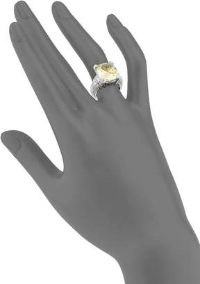 Judith Ripka Fontaine Sterling Silver, Canary Crystal & White Topaz Solitaire Ring