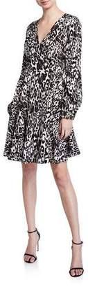 Milly Leopard Printed Jacquard Long-Sleeve Wrap Dress