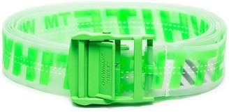 Off-White neon green industrial logo rubber belt
