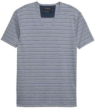 Banana Republic Luxury-Touch Stripe V-Neck T-Shirt