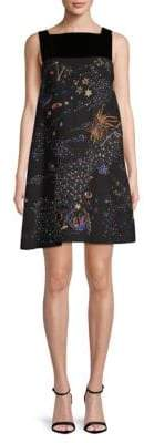 Valentino Wool Silk Galaxy Print Dress