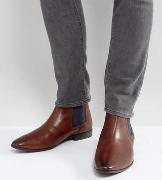 Asos Wide Fit Chelsea Boots in Brown Leather