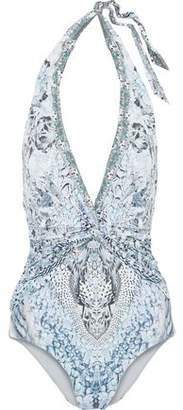 Camilla Twist-Front Crystal-Embellished Printed Halterneck Swimsuit