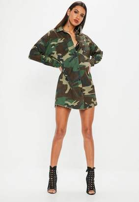 Missguided Khaki Camo Long Sleeve Shirt Dress
