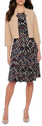 R & K Originals 3/4 Sleeve Belted Jacket Dress