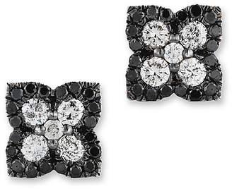 Bloomingdale's Black and White Diamond Clover Stud Earrings in 14K White Gold
