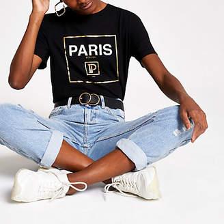 River Island Womens Black 'Paris' foil print T-shirt