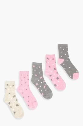boohoo 5 Pack Star Marl Ankle Socks