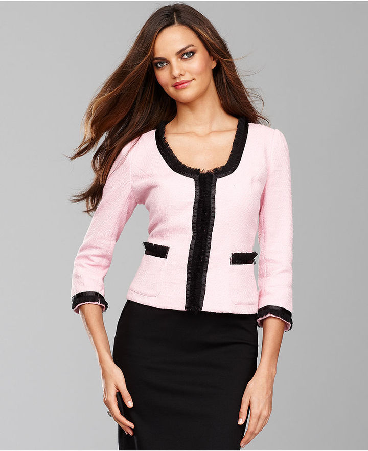 INC International Concepts Jacket, Three-Quarter-Sleeve Tweed Ruffle-Trim