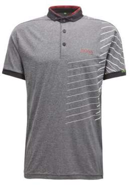 BOSS Hugo Striped polo shirt moisture-management technology XL Charcoal