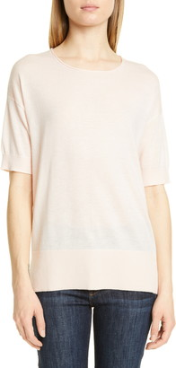Nordstrom Signature Short Sleeve Cashmere & Linen Sweater