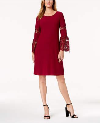 Alfani Lace-Sleeve A-Line Dress