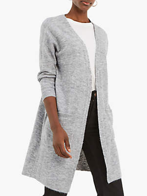Oasis Piper Cosy Long Cardigan, Mid Grey