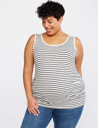 Motherhood Maternity Plus Size Side Ruched Scoop Neck Maternity Tank Top