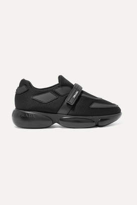 Prada Cloudbust Allacciate Logo-embossed Rubber And Leather-trimmed Mesh Sneakers - Black