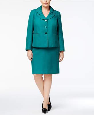 Le Suit Plus Size Shawl-Collar Skirt Suit