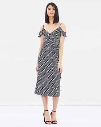 Oasis Diagonal Stripe Wrap Midi Dress