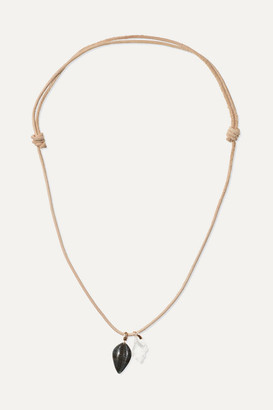 Dezso by Sara Beltrán Leather, Tiger's Eye And Crystal Necklace - Rose gold