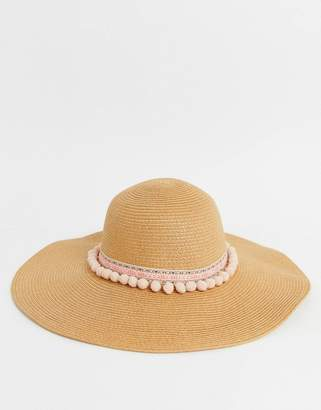 2a34dd9311ee8e Boardmans straw floppy hat with Aztec band and pom trim