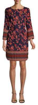 Belted Long-Sleeve Shift Dress