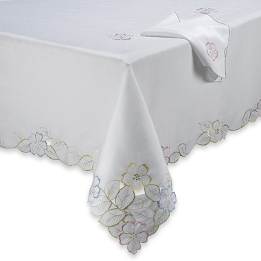 Spring Flower Cutwork Tablecloth and Napkin