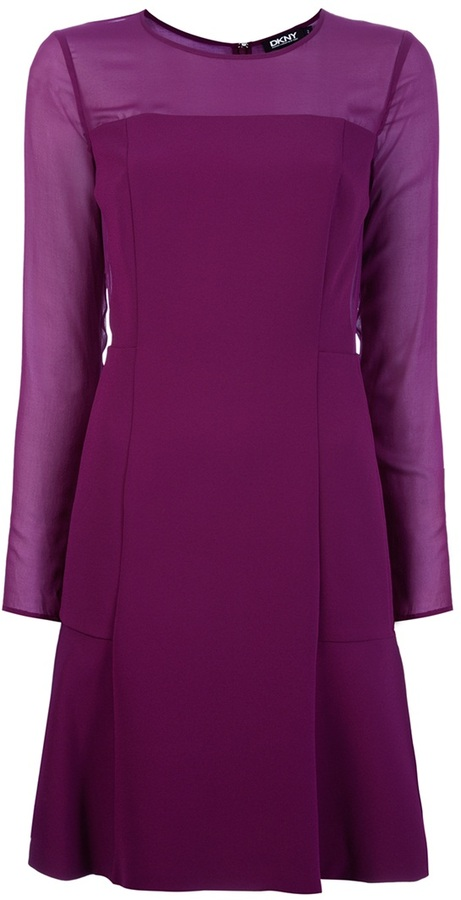 Dkny sheer sleeve dress