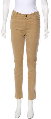 L'Agence Mid-Rise Suede Pants