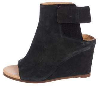 MM6 MAISON MARGIELA Suede Peep-Toe Wedge Ankle Boots