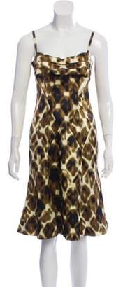 Just Cavalli Flared Knee-length Dress w/ Tags Brown Flared Knee-length Dress w/ Tags