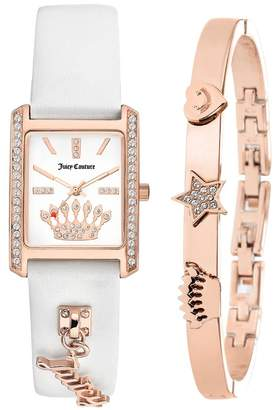 Juicy Couture Women's White/Rose Gold-Tone Leather 2-Piece Set, 22mm x 33mm