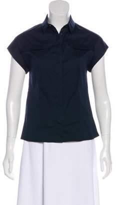 Akris Punto Button-Up Short Sleeve Top