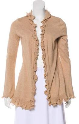 Magaschoni Ruffle-Trimmed Long Sleeve Cardigan