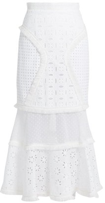 Andrew Gn Broderie Anglaise Panelled Cotton Skirt - Womens - White