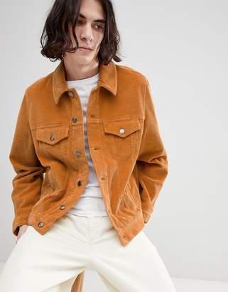Asos DESIGN cord western jacket in mustard